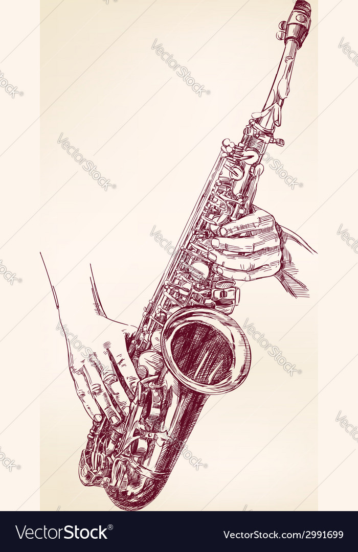 Saxophone hand drawn llustration vector | Price: 1 Credit (USD $1)