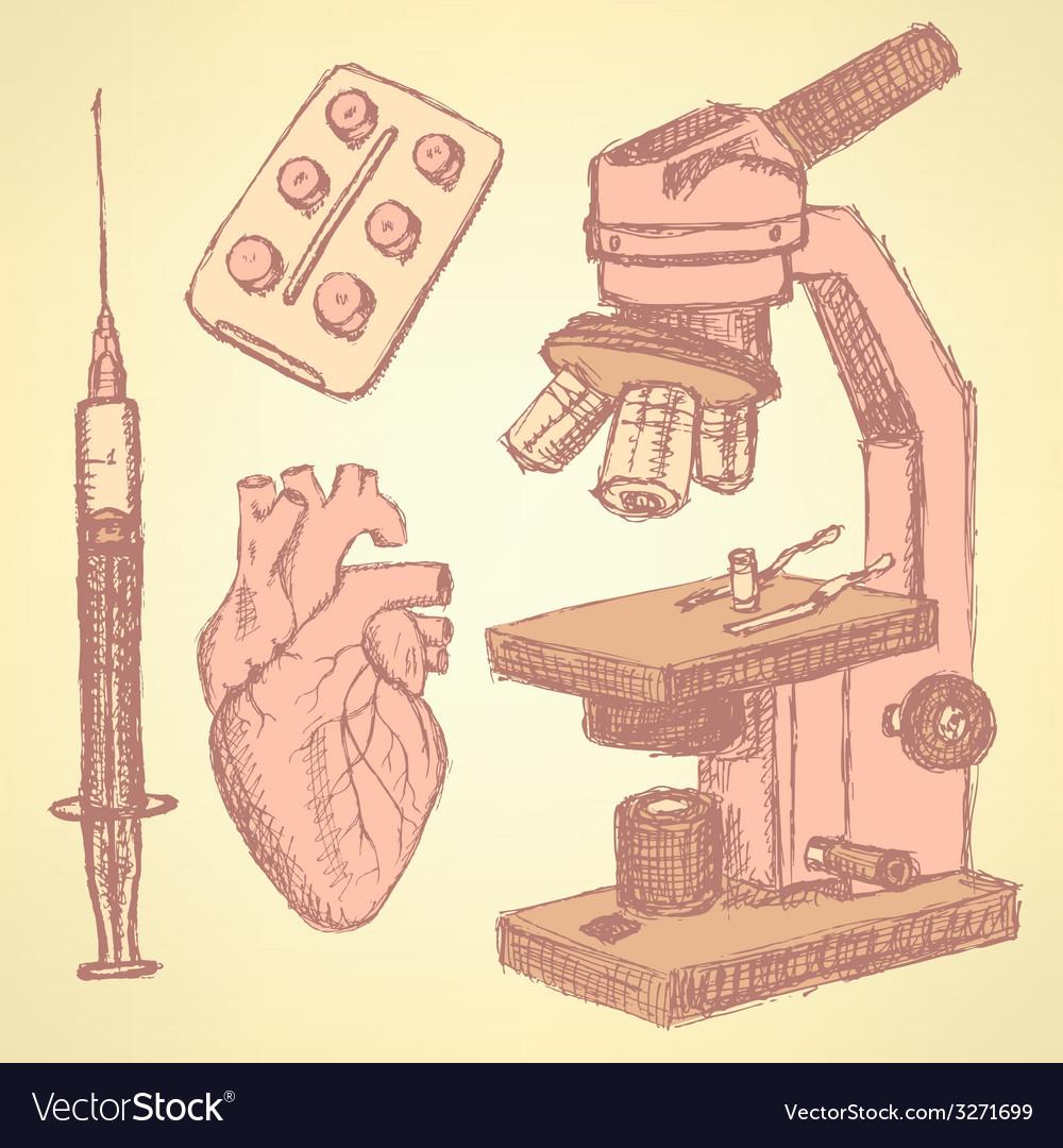 Sketch medical set in vintage style vector | Price: 1 Credit (USD $1)