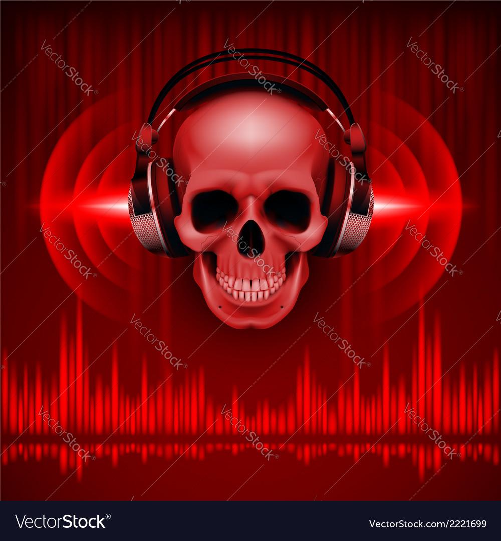Skull in headphones disco background vector | Price: 1 Credit (USD $1)