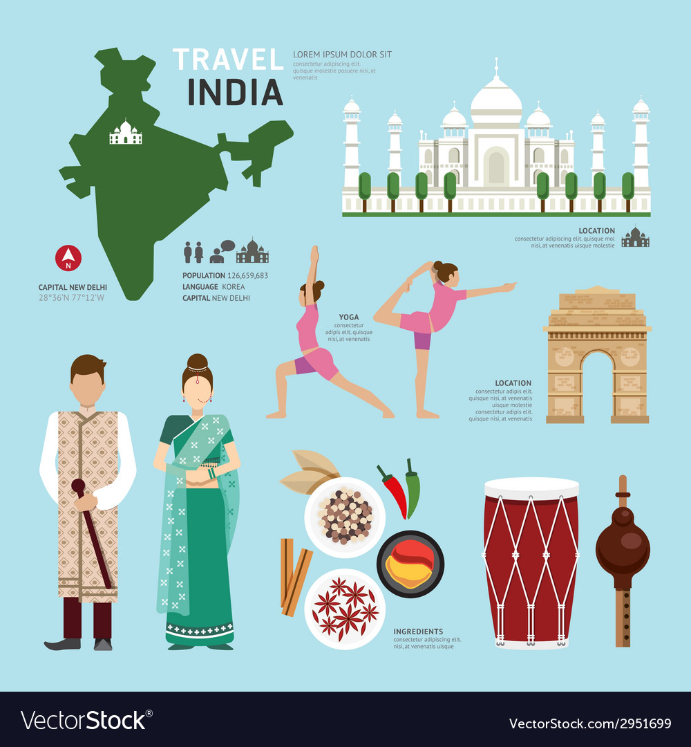 Travel concept india landmark flat icons design vector | Price: 1 Credit (USD $1)