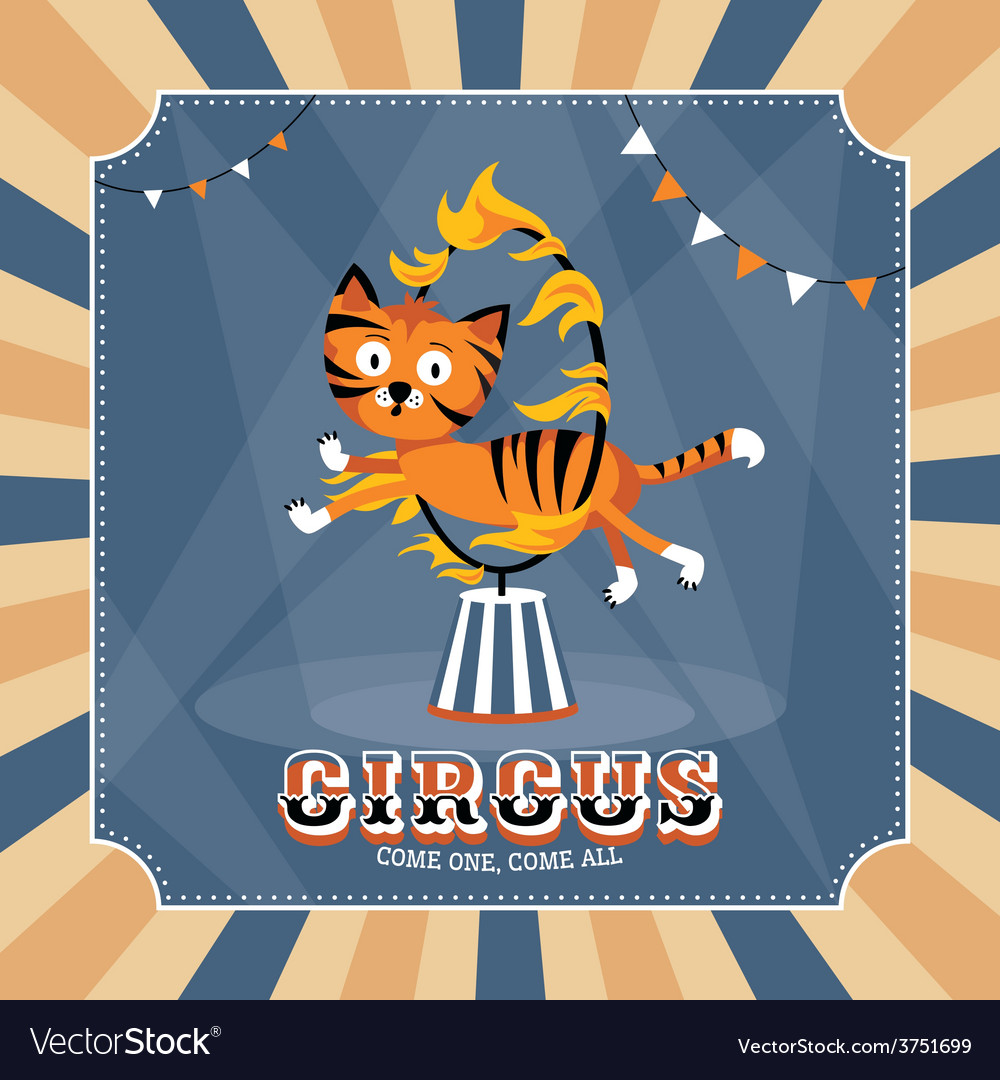 Vintage card with cute tiger vector