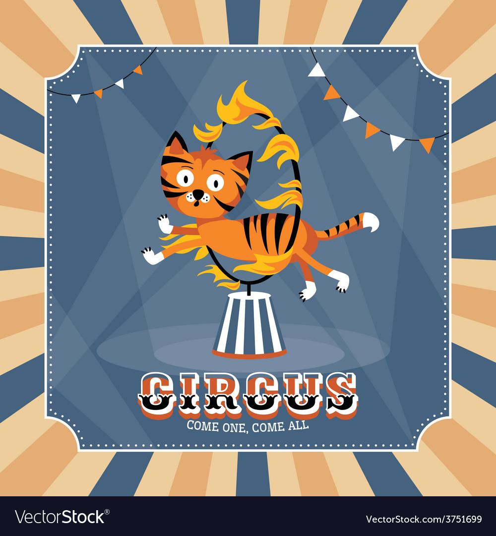 Vintage card with cute tiger vector | Price: 1 Credit (USD $1)
