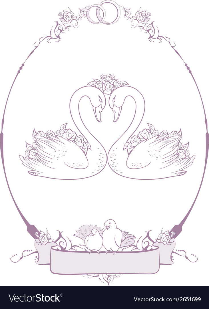 Wedding couple of swans vector | Price: 1 Credit (USD $1)