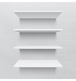 Four white realistic shelves against brick wall vector