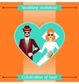 Wedding invitation card template in retro style vector