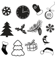 Set of christmas subjects and decorations vector