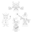 Fantasy heroes outline set vector
