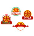 Italian pizza banners and emblems set for cafe vector