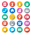 Contact flat color icons vector
