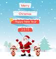 Santa and reindeer merry christmas vector