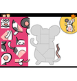 Cartoon mouse jigsaw puzzle game vector