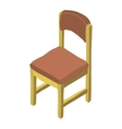 Cartoon isometric wood chair icon vector