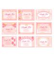 Pink business floral card set vector