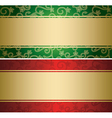 Red and green backgrounds with golden decor - card vector