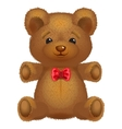 Teddy bear brown with a red bow vector