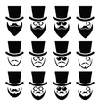 Man with hat with beard and glasses icons set vector