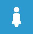 Female profile icon white on the blue background vector