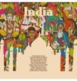 India cultural symbols patterns poster vector