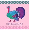 Colorful turkey on pink background vector