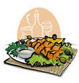 Grilled salmon kebab vector