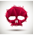 Red skull geometric icon made in 3d modern style vector