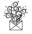 Envelope with floral design and hearts vector