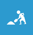 Construction works icon white on the blue vector