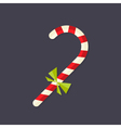 Candy christmas stick with bow flat icon vector
