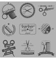 Set of vintage barber shop logo labels badges vector