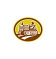 Farmer drive vintage tractor oval retro vector