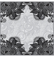 Grey vintage floral ornamental template on flower vector