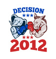 Democrat donkey republican elephant decision 2012 vector