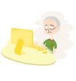 Happy old man using computer vector