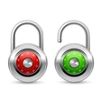 Open and closed realistic lock icon vector