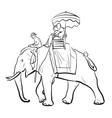 Elephant riding sketch vector