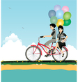 Seaside cycling vector