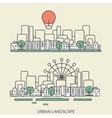 Linear background with urban landscape a stylish vector