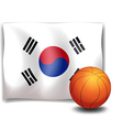 The flag of korea at the back of a ball vector