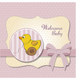 Welcome card with duck toy vector