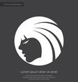 Beauty girl face premium icon white on dark backgr vector
