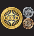 Golden silver and bronze empty coins vector