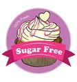 A sugar free label with a delicious cupcake vector