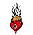 Heart tattoo or mascot with eye and tribal flames vector