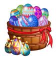 A basket full of easter eggs vector