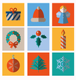 Set of modern style christmas icons vector