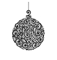 Black and white christmas ball with a floral desig vector