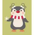 Christmas penguin card vector