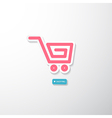 Pink paper cart i love shopping blue tag vector