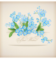 Blue spring flowers forget-me-not greeting card vector
