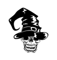 Skull in halloween hat vector